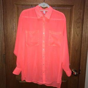 American Apparel Oversized Chiffon blouse- orange